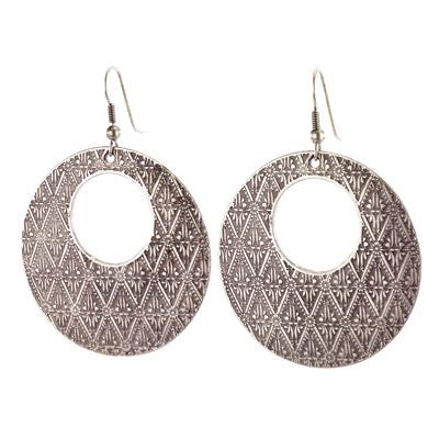 Vintage Turkish collection zinc alloy silver plated  Eclectic design hoop earring
