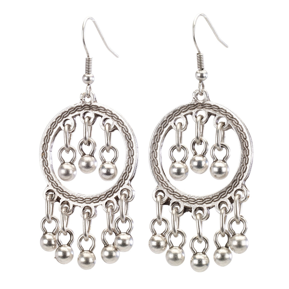 Vintage Turkish collection zinc alloy silver plated  Hoop earring with drop beads