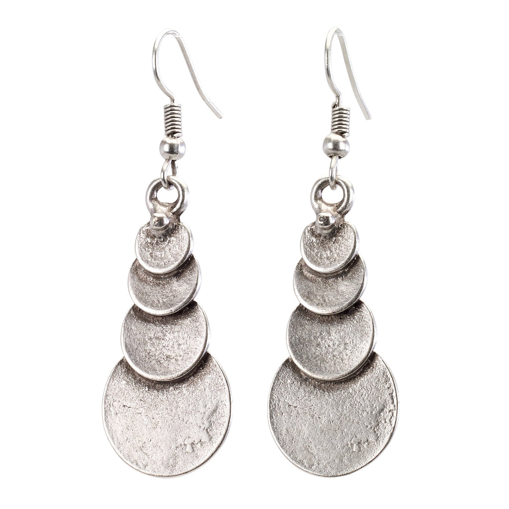 Vintage Turkish collection zinc alloy silver plated  Graduated disk drop earring