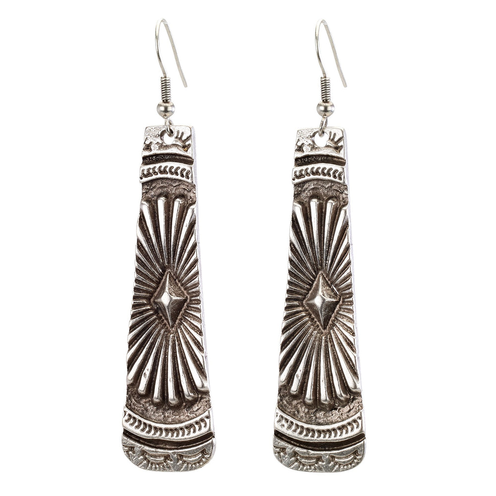 Vintage Turkish collection zinc alloy silver plated  Native design shield earring