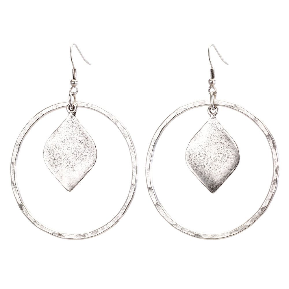 Vintage Turkish collection zinc alloy silver plated  Open hoop earring with drop leaf.