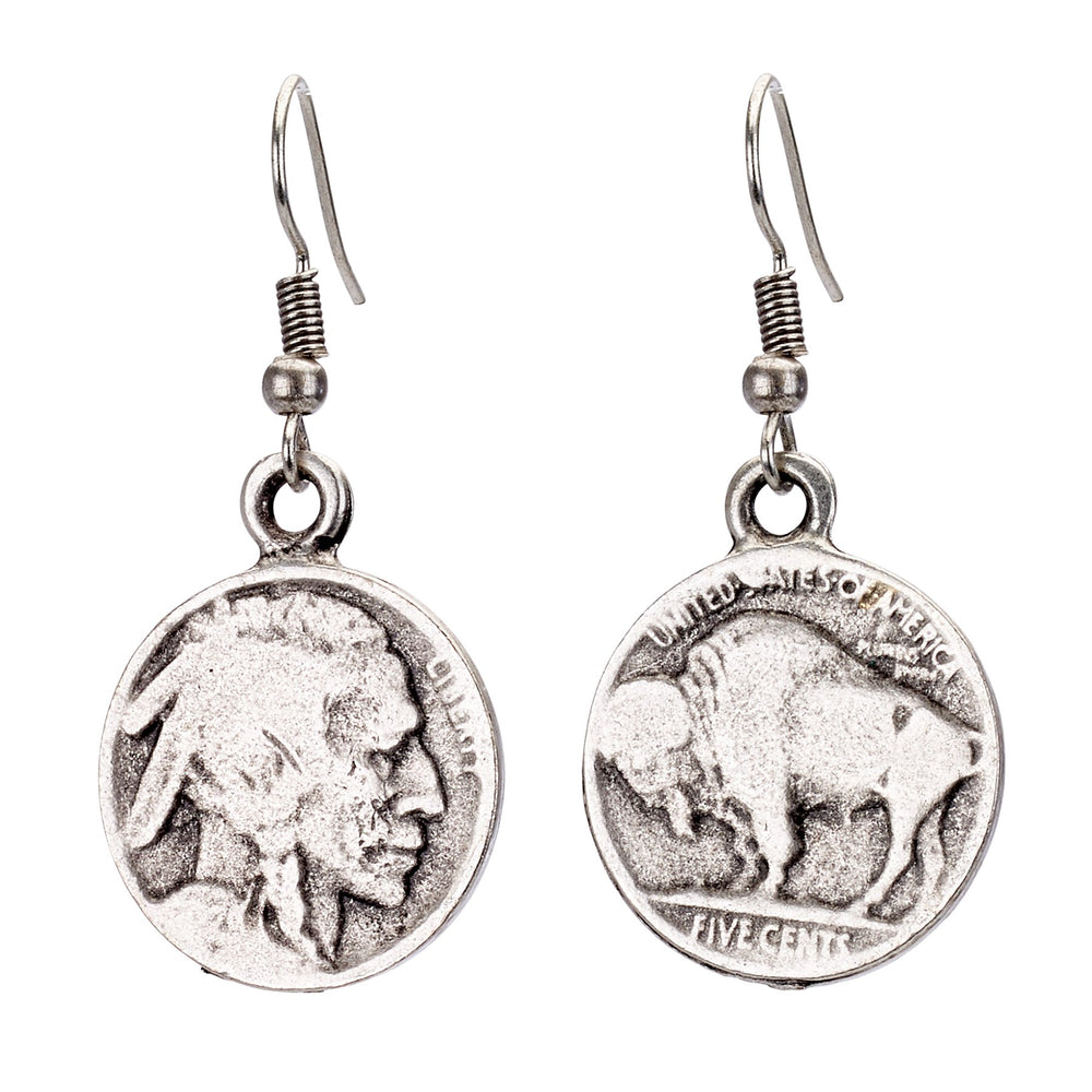 Vintage Turkish collection zinc alloy silver plated  Buffalo head coin earring