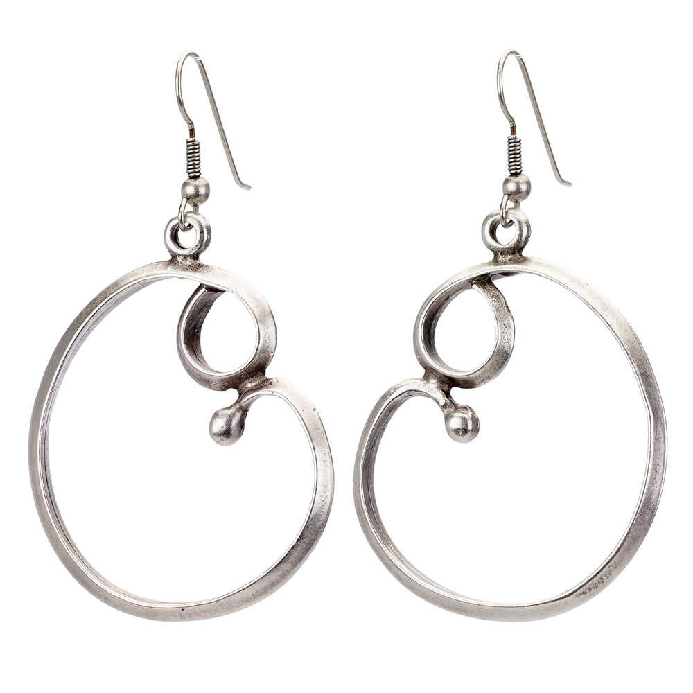 Vintage Turkish collection zinc alloy silver plated  Birth hoop earring