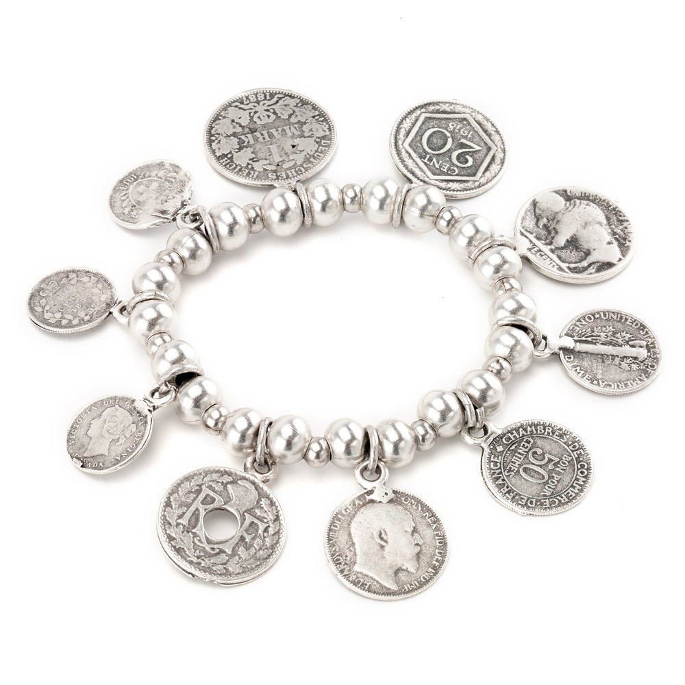 Vintage Turkish collection zinc alloy silver plated  Mixed antique coin bracelet.
