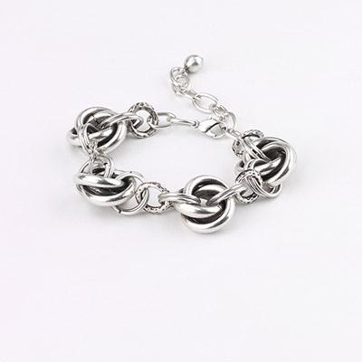 Vintage Turkish collection zinc alloy silver plated  Multi knot link bracelet.
