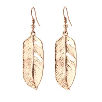 Vintage Turkish collection zinc alloy silver plated  Medium feather earring