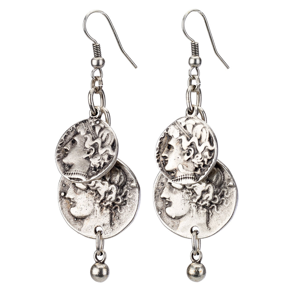 Vintage Turkish collection zinc alloy silver plated.  Greek coin drop earring.
