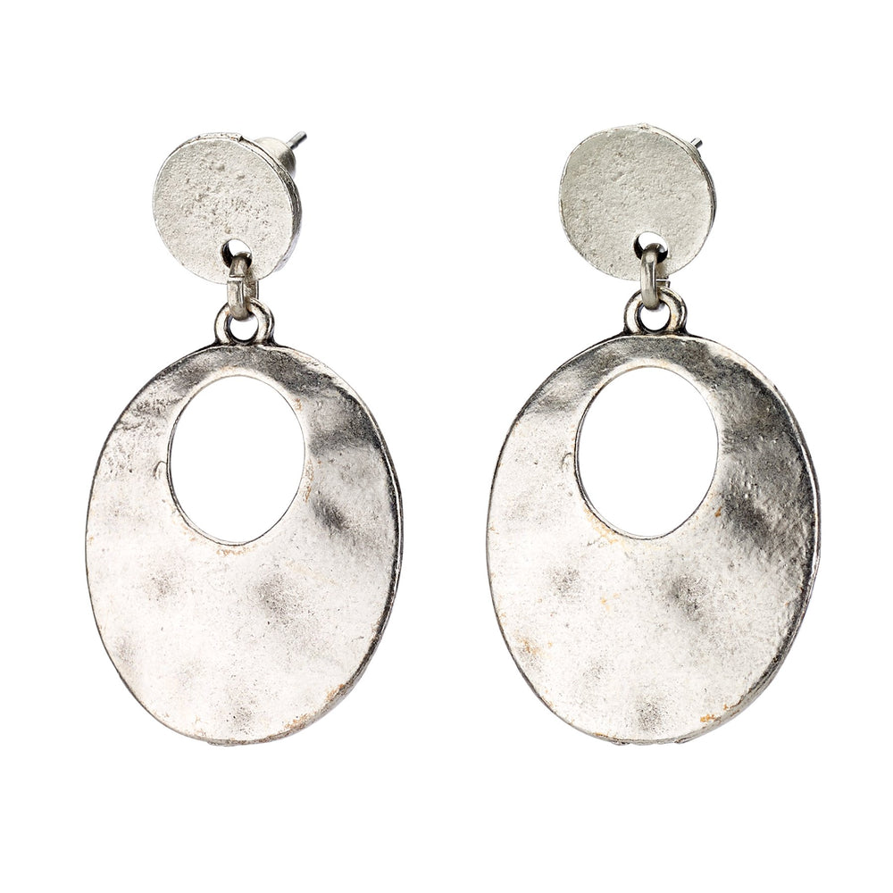 Vintage Turkish collection zinc alloy silver plated.  Small stud hoop earring.