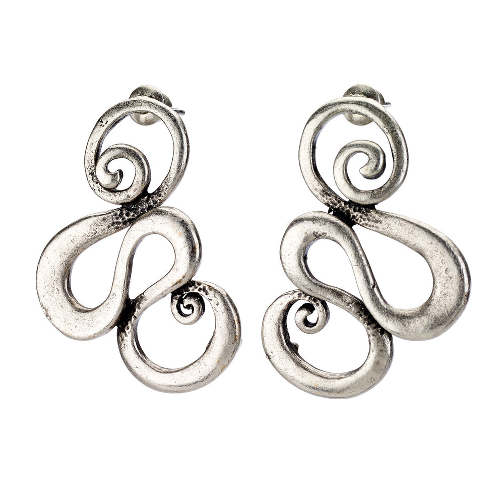 Vintage Turkish collection zinc alloy silver plated.  Swirl design stud earring.