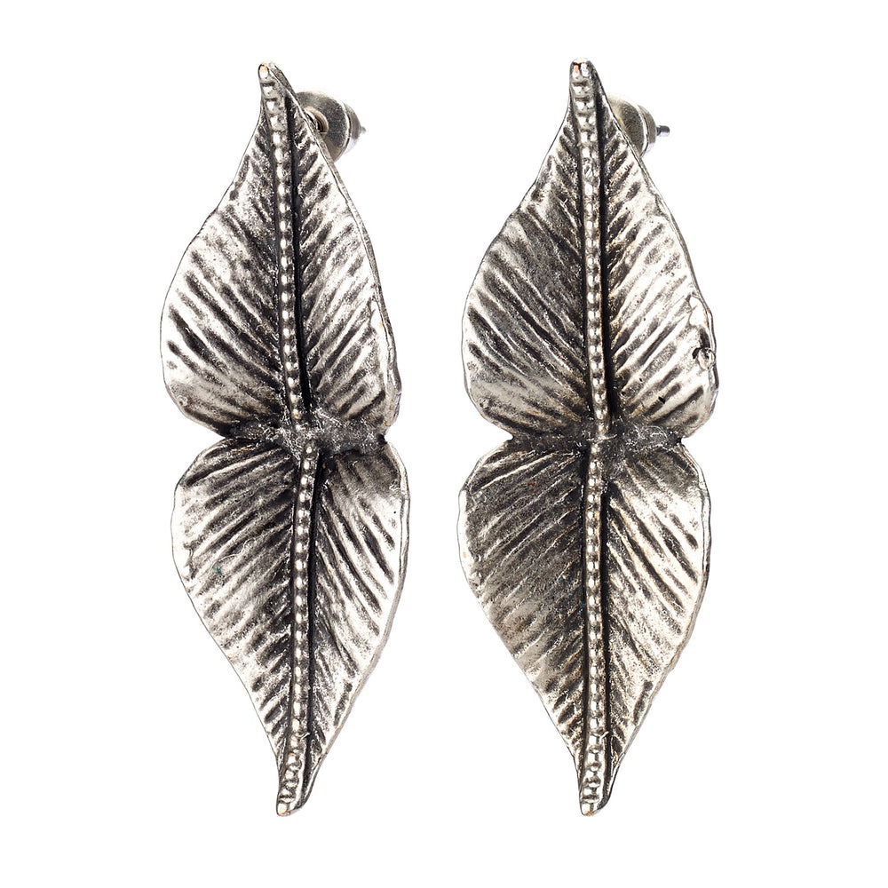 Vintage Turkish collection zinc alloy silver plated.  Double leaf stud earring.