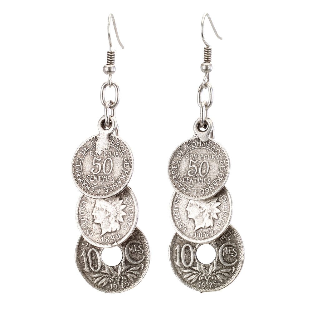 Vintage Turkish collection zinc alloy silver plated  Three tiered antique coin earring