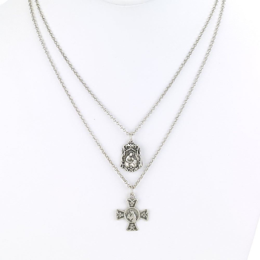 Vintage Turkish collection zinc alloy silver plated.  Two strand religious charm necklace.