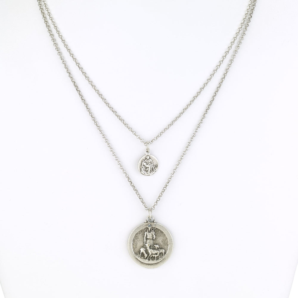 Vintage Turkish collection zinc alloy silver plated.  Two strand necklace with religious coin.