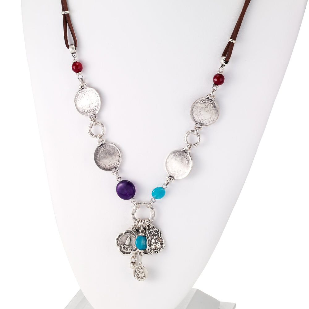 Vintage Turkish collection zinc alloy silver plated  Suede necklace with religious charms.