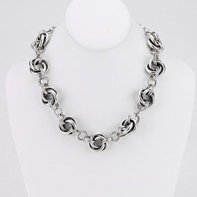 Vintage Turkish collection zinc alloy silver plated  Multi intertwined link necklace.