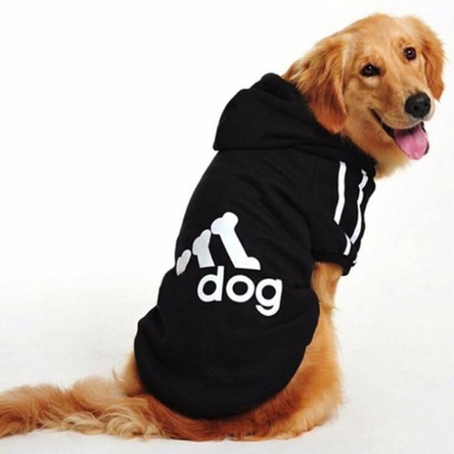 Adidog 3 Stripes K9 Hoodie For Big Dogs (Hot Item) - Black / Xl