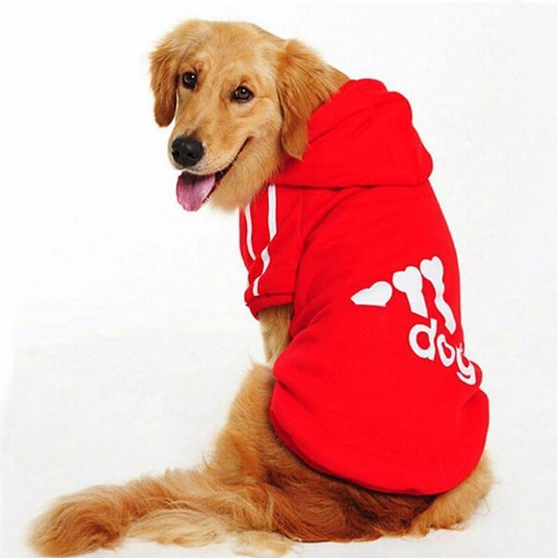 Adidog 3 Stripes K9 Hoodie For Big Dogs (Hot Item) - Red / Xl