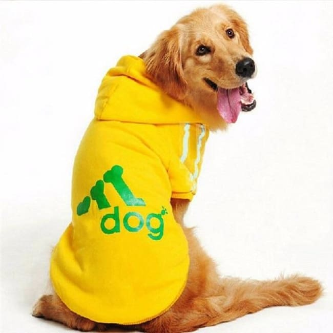 Adidog 3 Stripes K9 Hoodie For Big Dogs (Hot Item) - Yellow / Xl
