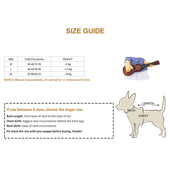 Guitar Player Dog Cat Costume Guitarist Dressing Up Party