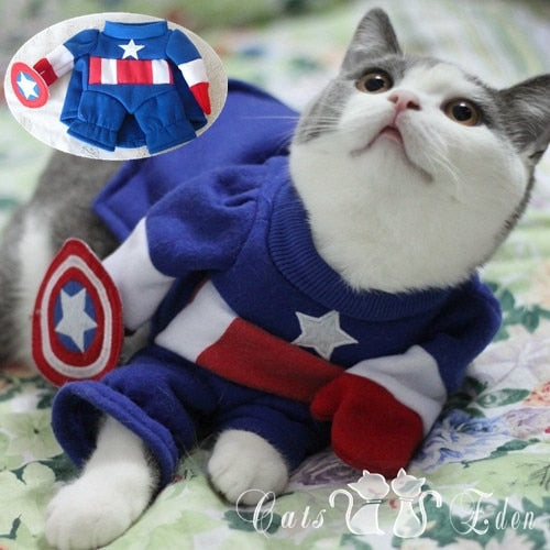 Captain America Epic Halloween Costume for Dogs & Cats