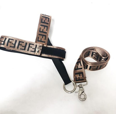 D-Fendi Leash and Harness Set (brown/black) (HOT ITEM!)