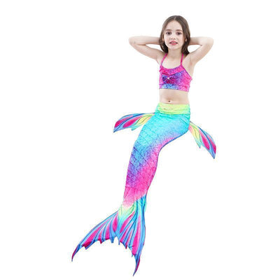 Girls Mermaid Tail Kids Swimsuit Bikini Set