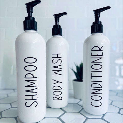 White Bathroom Bottles | Tall