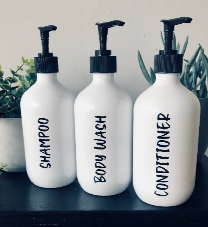 White Bathroom Bottles | Short - Sassy & Arbee