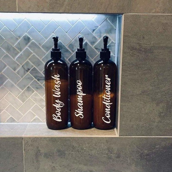 Amber Tint Bathroom Bottles | Tall - Sassy & Arbee