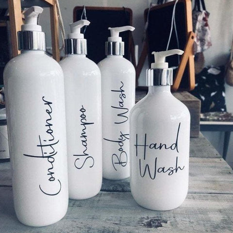 Set of 4 Bathroom Bottles in White - Sassy & Arbee