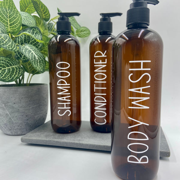 Amber Tint Bathroom Bottles | Tall