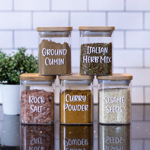 Square Spice Jars w/ Bamboo Lids - 200ml