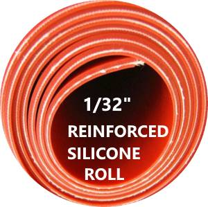 "1/32"" REINFORCED SILICONE RUBBER ROLL, FIBERGLASS INSERT - The Rubber Sheet Roll Store"