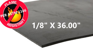 "1/8"" THICK X 36.00"" WIDE  FLAME RESISTANT RUBBER - The Rubber Sheet Roll Store"