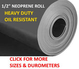 "Roll of durable, tough & flexible, heavy duty neoprene rubber 1/2"" inch thick."