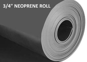 "Roll of durable, tough & flexible, heavy duty neoprene rubber material 3/4"" inch thick."