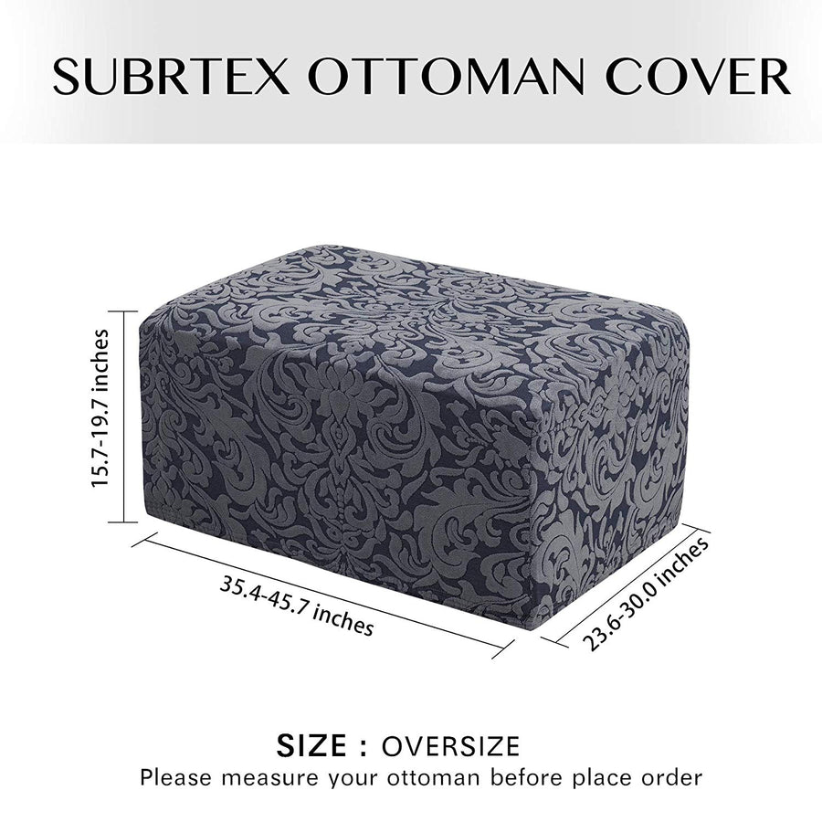 Subrtex Jacquard Damask Stretch Oversize Storage Ottoman Slipcover Protector