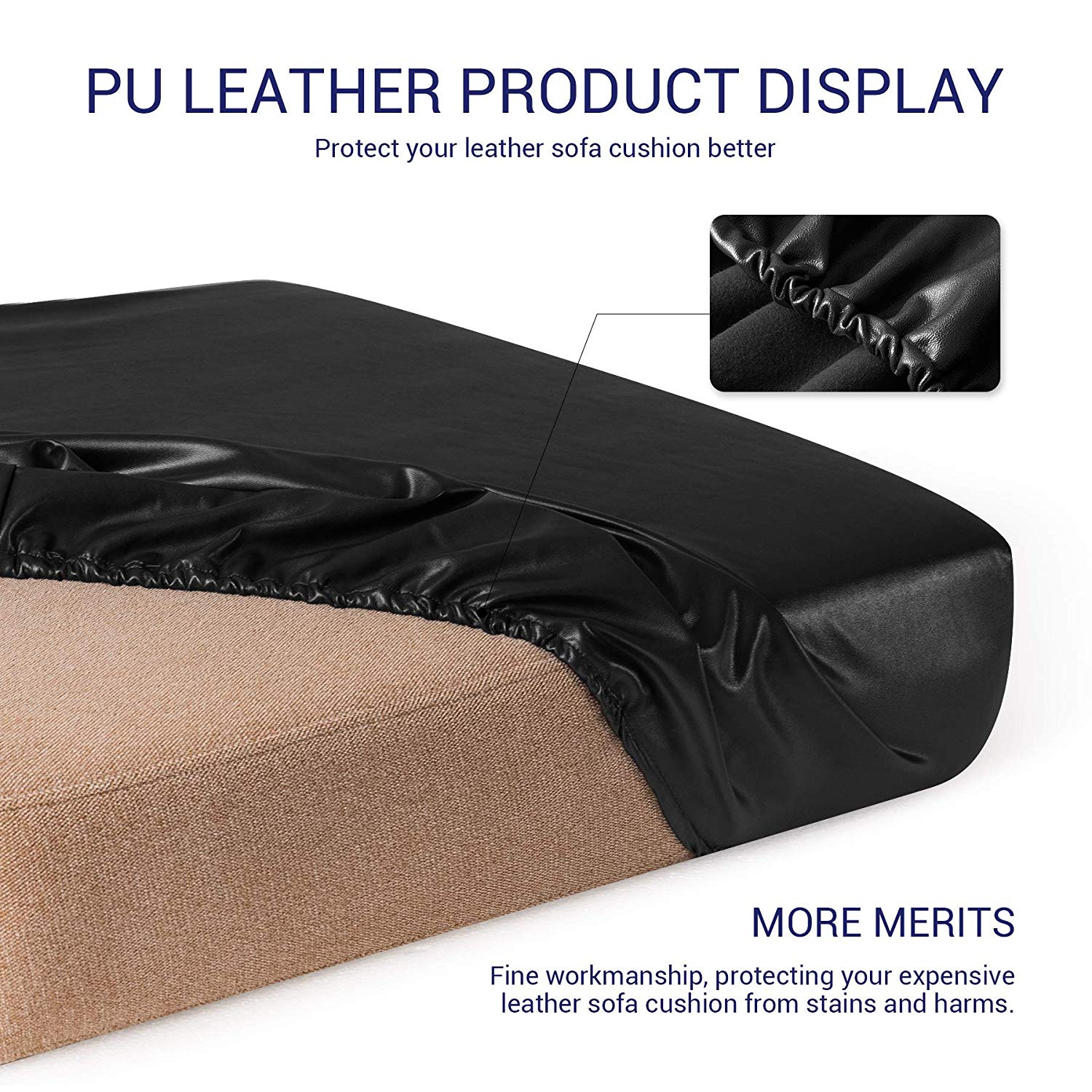 Sofa Seat Cushion Cover PU Leather Slip Covers Stretchy Couch Protector Decor
