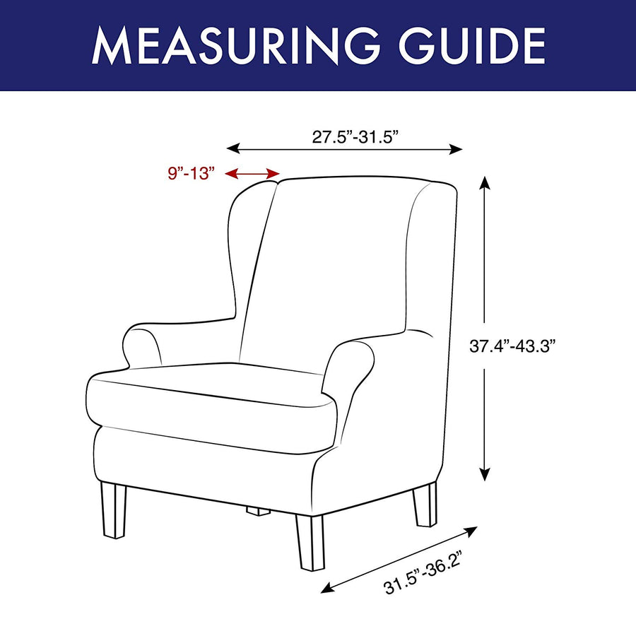Subrtex 2-Piece Elegant Jacquard Wing Chair Slipcovers