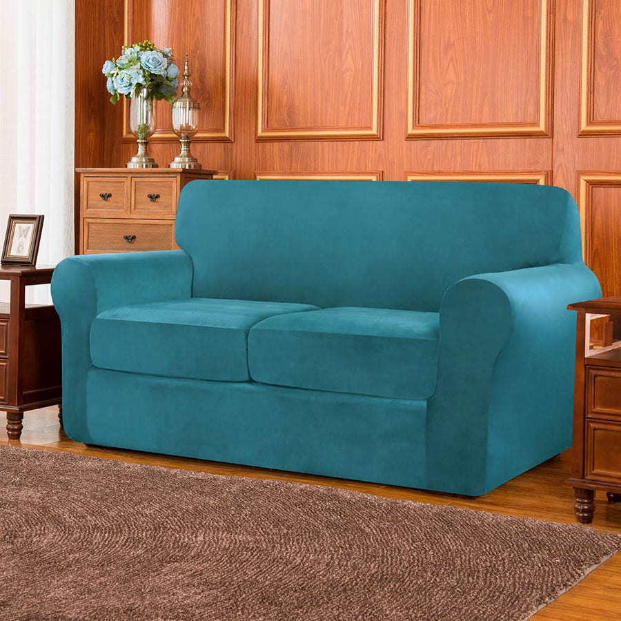 Subrtex Velvet Plush Stretch Sofa Cover with Separate Cushion Couch Cover