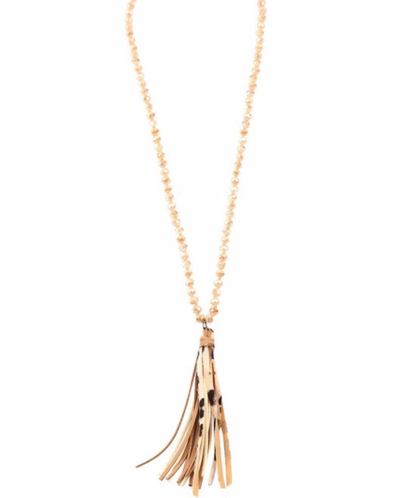 Holiday Tassel Necklace- Brown Mix