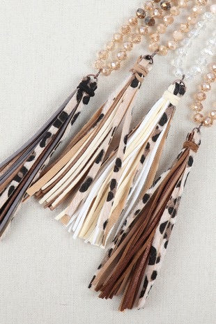 Holiday Tassel Necklace- Black Mix