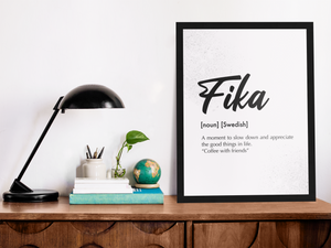 Fika Finnish A4 & A3 Framed & Unframed Posters