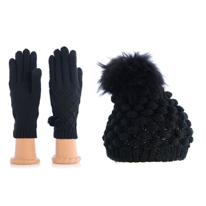 Pom Pom Hat and Gloves Set