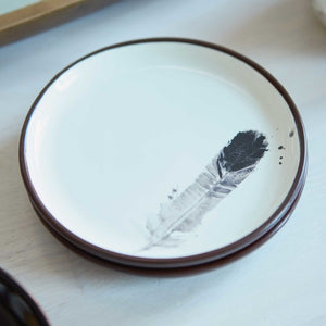 Feather Print Platter Set