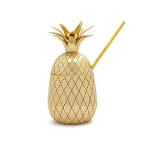 16 oz Brass Pineapple Tumbler with Straw