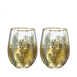 Stemless Woodland Wine Glasses