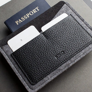 Wool and Leather Passport Holder