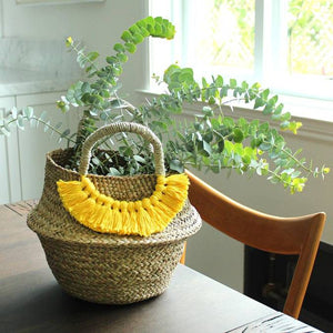 Petite Woven Seagrass Straw Belly Basket