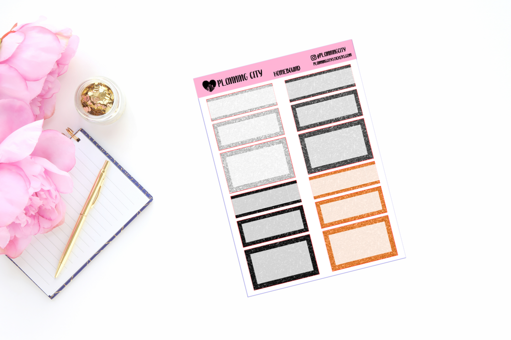 Homebound Glitter Functional Boxes Add on Planner Stickers